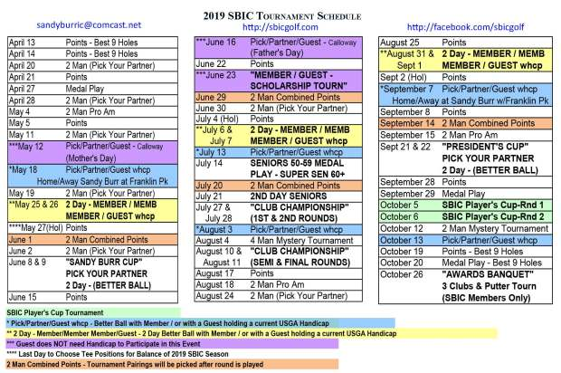 2019 SBIC Schedule